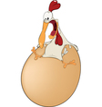 Hen and the big egg cartoon vector image vector image