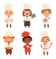 kids characters prepare food vector image