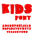 Kids font 3D letters Alphabet for children Red vector image vector image