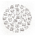 large circular icon set rural animals in vector image vector image