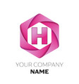 letter h logo symbol on colorful hexagonal vector image