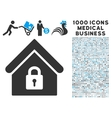 Lock Building Icon with 1000 Medical Business vector image vector image