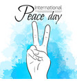 national day of peace peace gesture with vector image vector image