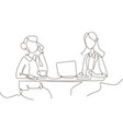 office workers - one line design style vector image