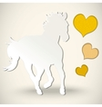 Paper cut greeting card with horse and hearts vector image vector image
