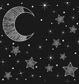 pattern with hand drawn moon and stars vector image