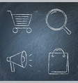 promotion and purchase icons set on chalkboard vector image