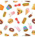 realistic flat seamless pattern fast food vector image