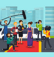 reporters and celebrity orthogonal composition vector image vector image