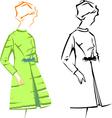 retro fashion sketches vector image vector image