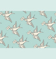 seamless pattern with old school vintage bird and vector image vector image