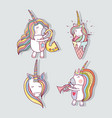 set beautiful unicorn with long mane vector image vector image