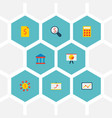 set of finance icons flat style symbols with court vector image