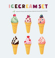 set of ice cream in different flavors vector image vector image