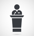 Speaker makes a speech at meeting from tribune vector image