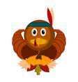 turkey bird with cornucopias and leaves vector image vector image