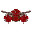 two big old revolvers red roses and barbed wire vector image vector image