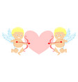 two cupids and pink love heart vector image
