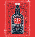 typography retro grunge design whiskey bar poster vector image vector image
