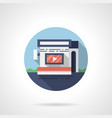 video ads in stores flat round icon vector image vector image