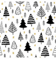 winter graphic seamless pattern with xmas tree vector image vector image
