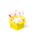 yellow box with red confetti surprise box vector image vector image