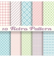 Pastel retro different seamless patterns tiling vector image