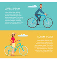 People riding bicycle Cyclists man and woman vector image