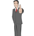 Businessman in suit shows thumb up vector image