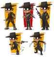 cartoon bandit in black mask character set vector image