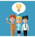 cartoon teamwork business bulb idea innovation vector image