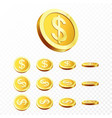 3d gold coins realistic gold coin on transparent vector image vector image