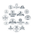 3d printing logo icons set simple style vector image vector image