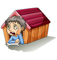 A boy inside the doghouse vector image vector image