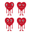 a set of cartoon heart patch badges vector image vector image