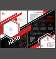 abstract flyer template with black and red stripes vector image vector image