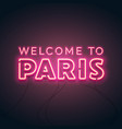 abstract welcome to paris neon glow vector image vector image