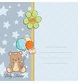 baby boy shower card with cute teddy bear