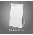 Blank white realistic paper packaging bag with vector image vector image