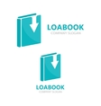 book and down arrow logo concept vector image vector image