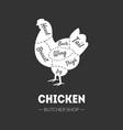 butcher shop label chicken cuts farm poultry vector image vector image