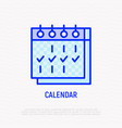 calendar with marks thin line icon vector image