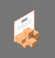 cardboard delivery boxes isometric banner vector image vector image
