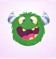cartoon green horned monster vector image