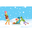 Children sledding vector image vector image