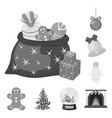 christmas attributes and accessories monochrome vector image
