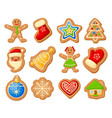 christmas gingerbread set vector image vector image