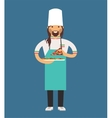 cooking pizza chef vector image vector image