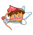 cupid sponge cake character cartoon vector image