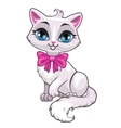 Cute cartoon little white cat vector image vector image